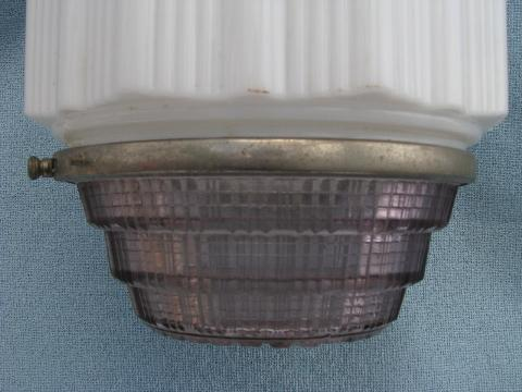 huge art deco electric light, transluscent white ribbed shade / prismatic glass