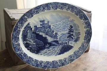 huge blue & white transferware china platter, vintage English scenery British castle views
