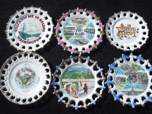 Huge Collection Of 50 Vintage Souvenir Plates State Maps