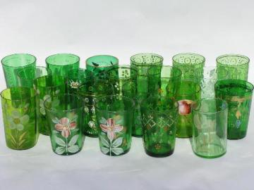 huge collection of forest green glasses, vintage & antique glass tumbler lot