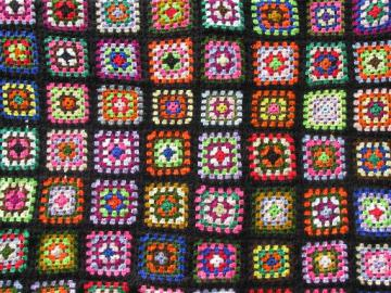 huge cozy vintage afghan throw blanket, retro granny squares crochet