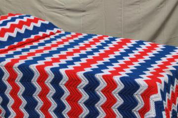 huge crochet afghan in red, white and blue - 4th of July picnic blanket or king size bedspread