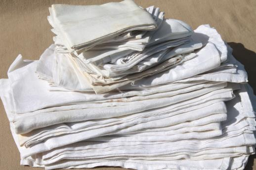 huge estate lot 80+ Irish linen & cotton damask napkins, vintage & antique