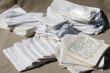 huge estate lot 80+ Irish linen & cotton damask napkins, vintage & antique