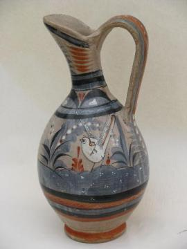 huge ewer pitcher, vintage Mexican hand-painted Zuni art pottery