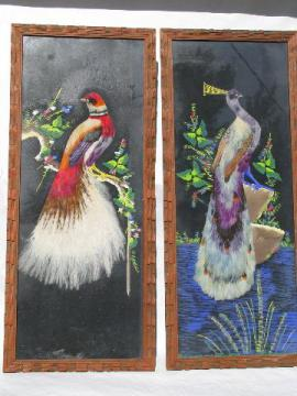 huge feather bird pictures in carved wood frames, vintage Mexico