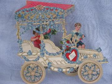 huge fold-out paper die-cut Valentine, Victorian horseless carriage, Germany