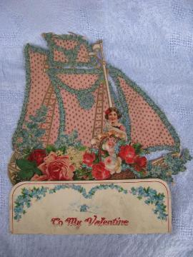 huge fold-out paper die-cut Valentine card, girl w/ kitten, roses, sailboat