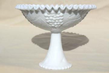 huge fruit bowl, vintage milk glass compote pedestal dish, centerpiece for grapes