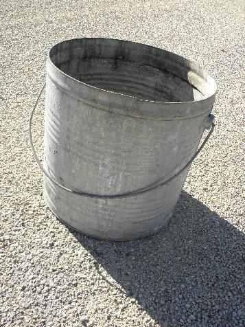 huge galvanized metal wash bucket for kitchen or laundry, primitive old patina