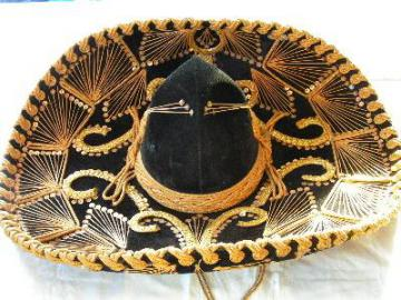 huge gold embroidered velvet sombrero hat, Mexico
