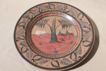 huge hand painted Mexican pottery tray or charger plate, vintage folk art