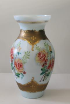 huge hand painted glass vase umbrella stand, vintage Bohemian Czech milk glass gold & roses