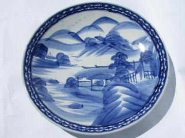 huge hand-painted Chinese blue&white pottery low bowl or charger plate