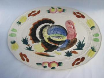 huge hand-painted Thanksgiving turkey platter, vintage Japan
