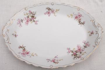 huge heavy antique china turkey platter or tray, vintage Wedgwood pink azalea floral