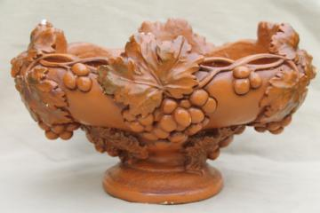 huge heavy chalkware fruit bowl flower vase, vintage architectural ornament