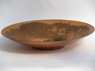 huge heavy hammered copper pan or bowl, vintage copperware