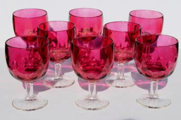 huge hoffman house thumbprint glass goblets / wine glasses, ruby stain flashed color clear stem