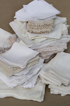 huge lot 100+ vintage & antique cloth napkins, damask & cotton white work table linen
