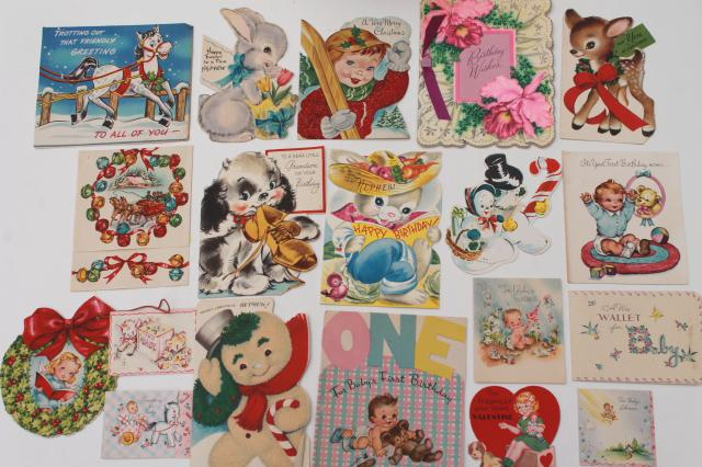 Huge Lot 150 Vintage Greeting Cards Holiday Birthday Cards