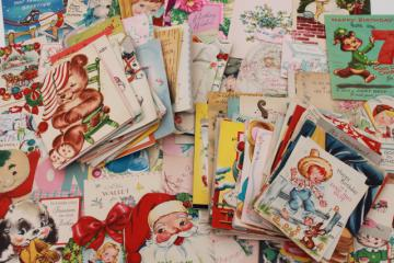 huge lot 150+ vintage greeting cards, holiday & birthday cards, Christmas cards, valentines