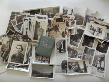 huge lot 200+ old B&W snapshot photos, mostly 1940s WWII vintage