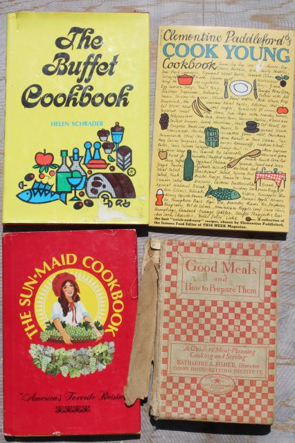 huge lot 50+ vintage cookbooks 1930s to 70s, retro meals & advertising recipe booklets