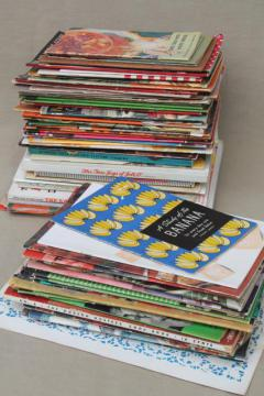 huge lot 60+ vintage cookbooks 1930s to 70s, retro meals & advertising recipe booklets