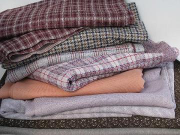 huge lot 70s vintage polyester double knit fabric, pantsuit plaids!