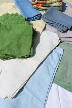 huge lot 90+ vintage cloth napkin sets, soft washed pure linen napkins, cotton fabric napkins