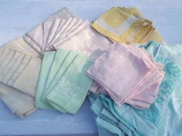 huge lot antique and vintage all linen damask tablecloths, Irish double damask etc.