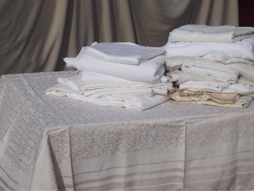 High Quality Huge Lot Antique Vintage Cotton U0026 Linen Damask Jacquard Fabric Tablecloths