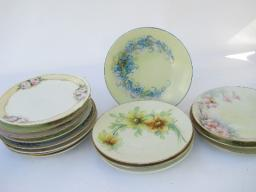 huge lot antique & vintage hand-painted china cake plates, different flowers
