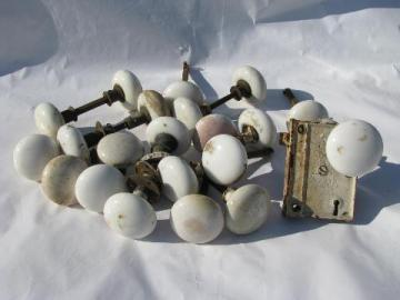 huge lot antique vintage white porcelain doorknobs for architectural restoration