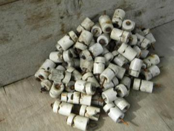 huge lot antique white porcelain architectural insulators/standoffs
