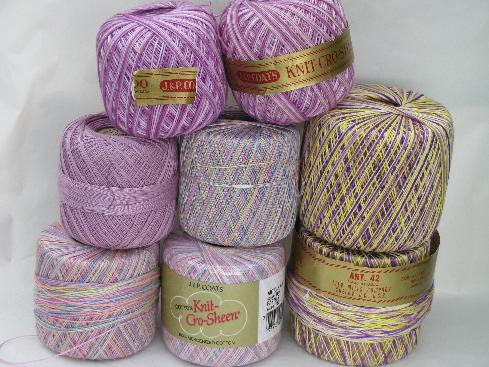 huge lot crochet cotton thread, different weights & colors 50+ balls