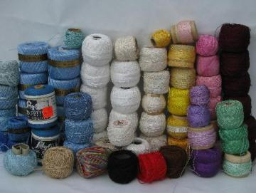 huge lot fine cotton crochet thread, pearl cotton colors 70 balls