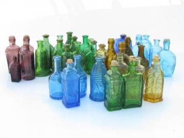 huge lot miniature colored glass bottles, vintage reproductions, Wheaton etc.