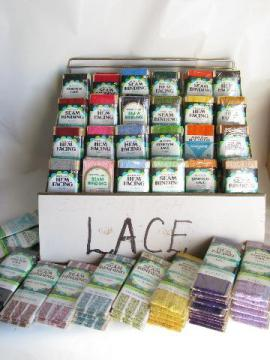 huge lot mod colors retro vintage lace trim, carded trims in display rack