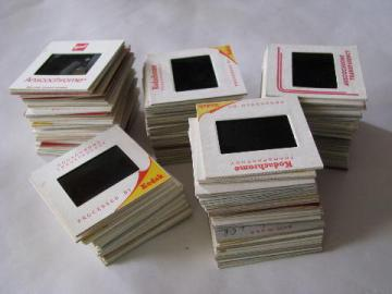 huge lot of 140 assorted 1960s and 1970s vintage 35mm photo slides, people, buildings, cars etc