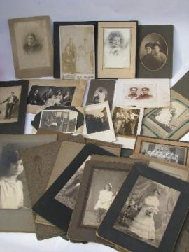 huge lot of antique vintage cabinet card photographs, embossed folders