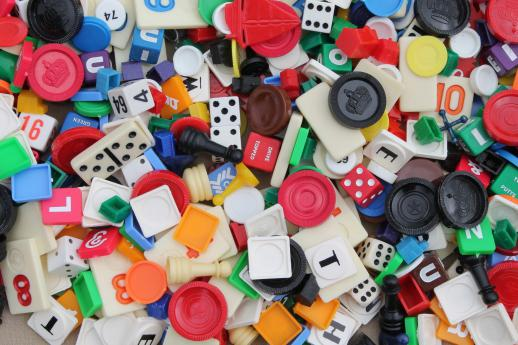 huge lot of assorted vintage game parts - playing pieces, tiles, dice, chips & counters