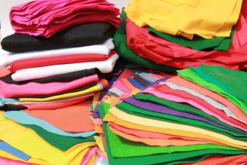 huge lot of craft felt yardage & felt sheets in a rainbow of assorted colors