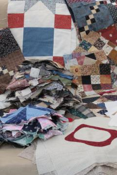 huge lot of patchwork quilt blocks in assorted patterns & primitive prints