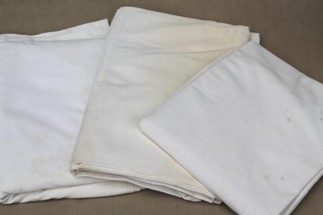 huge lot of plain white cotton bedsheets, flat bed sheets, vintage bedding