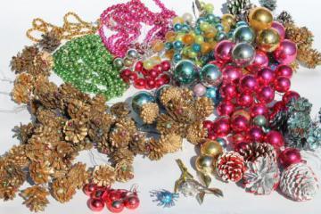 huge lot of vintage Christmas decorations, mercury glass balls & beaded pinecones