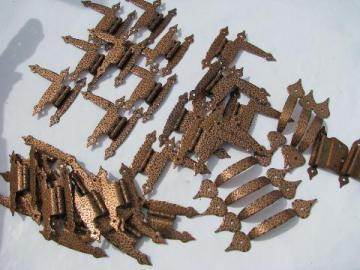 huge lot of vintage copper hand wrought Arts & Crafts hinges & pulls, 35+ pcs
