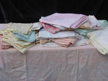 huge lot of vintage cotton and/or rayon damask table linens, 19 colored tablecloths+