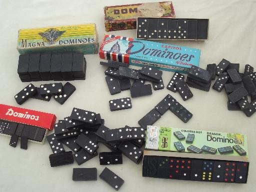 huge lot of vintage dominoes, old wood domino pieces, tiles, game parts